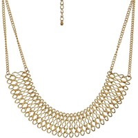 Shiny Gold-Tone Chain Loop on 2 Rows of Statement Necklace, 18""