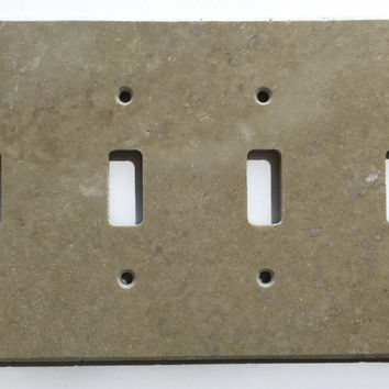Light Walnut Travertine Quadruple Toggle Switch Wall Plate / Switch Plate / Cover - Honed