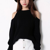 Casual Chic Round Neck Off The Shoulder Black Sweater Knitted Pullover