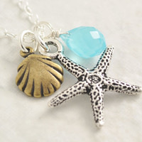 Starfish necklace - sea shell necklace, beach necklace, ocean necklace, summer necklace, blue stone, star fish, seashell