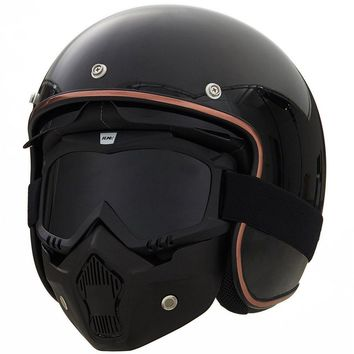 ILM Detachable Googles and Mouth Removable Masks for Scooter Helmet and Open Face Helmet