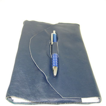 Dark Blue  Leather Travel Journal Soft Bound Journal, Sketch Pad , Unlined Blank Book Art Book,Sketchbook