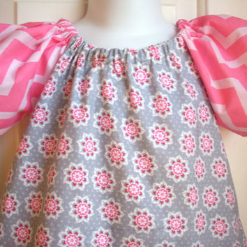 Baby clothes girls dress baby girl toddler dress Easter dress in pink and grey