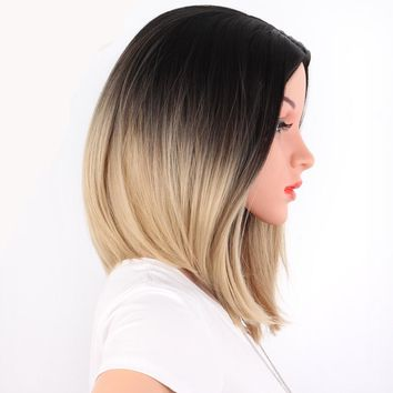 Shoulder Length Bob Ombre Synthetic Hair Wigs