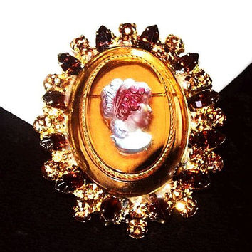 "Juliana Pink Cameo Brooch Topaz Etched Oval Glass Stone 2 1/2"" Vintage"