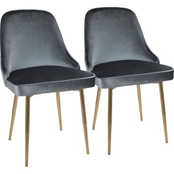 Marcel Contemporary Dining Chairs with Blue Velvet, Gold (Set of 2)