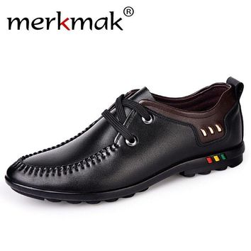 Merkmak 2017 New Mens Shoes Casual Microfiber Leather Men's Flats Black Brown Blue Handmade Schoenen Comfort Fashion Men Loafers
