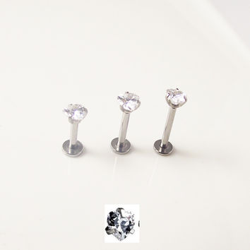 16G 1.2mm 316L Surgical Steel Internally Threaded Labret Ring with a Heart Shape Sparkling Zircon Lip Helix Tragus Piercing