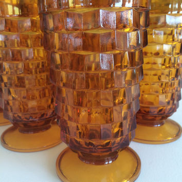 Vintage Amber Tumblers Drinking Glasses Whitehall Cube or Cubist Footed Pedestal Barware Mid Century Water Glasses