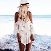 Womens Stylish White Beach Romper