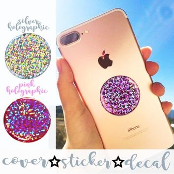 Holographic Iridescent Silver Sparkle DECAL/STICKER ONLY stand for selfie HOLDER | eBay