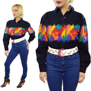 Vintage 80s Roper Multicolor Rainbow Cowgirl Country Western Shirt