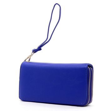 Vegan Double Zip Around Wallet/Wristlet (Multiple Colors Available)