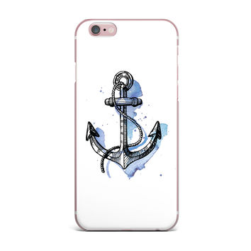 "Kess Original ""Anchor Watercolor "" Blue White iPhone Case"