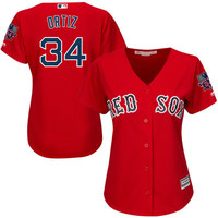 Majestic David Ortiz Boston Red Sox Women's Red Cool Base Jersey with Retirement Patch