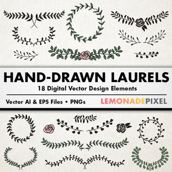 Laurels Clip Art  - Hand Drawn Clipart, floral frames, Leaves clipart, vector wreaths, graphic design elements, scrapbook supplies