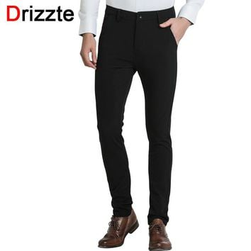 Drizzte Mens Casual Black Dress Pants Quality Stretch Stylish Slim Pants Business Trousers