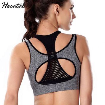 DCCKFS2 2018 Quick Dry Sports Bra Women Yoga Sports Bra Running Gym Adjustable Mesh Fitness Padded Top Seamless Fake Two-pieces
