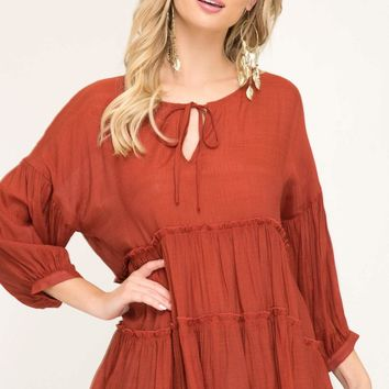 Women's Tiered Peasant Top with 3/4 Sleeves