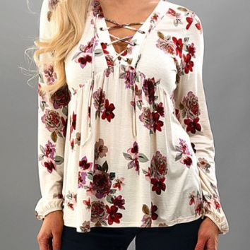 Lace Up Floral Top- Ivory