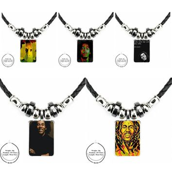Love The Life You Live Bob Marley For Women Party Jewelry Black Leather Bead Pendant Glass Cabochon Choker Long Pendant Necklace