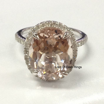Ready to Ship - Oval  Morganite Engagement Ring Pave Diamond Halo 14K White Gold 10x12mm