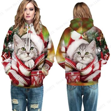 Red Christmas Skateboard Hoodies Lovely Santa Claus Cat Sport Suit Winter Women's Hooded Sweatshirts Autumn Oversized Tracksuits