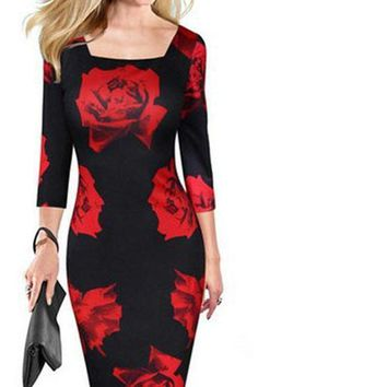 2017 Autumn Fall Women's Fashion, Rose Floral, Bodycon, Stretch, Square Collar, Long Sleeve, Floral Print, Elegant Cocktail Dress Small - X large, S-XL