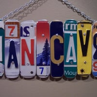 MAN CAVE Sign Recycled - Repurposed - Upcycled MANCAVE License Plate Wall Hanging