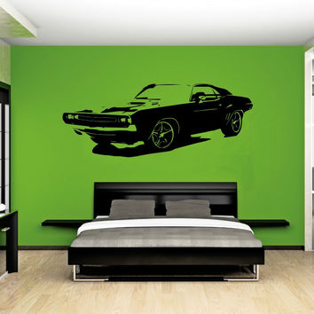 Removable Large Car Dodge Challenger Bedroom Wall Sticker Art Home Decor Vinyl Sticker Living Room Wall Paper