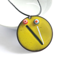 Bright Yellow Enamel and Millefiori Necklace Pendant Milliefiori Necklace Enamel Jewellery Enamel Necklace