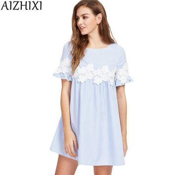 AIZHIXI Floral Lace Applique Blue Striped Babydoll Mini Dress Women 2017 Summer Short Sleeve Dresses Womans Vintage Cute Dress