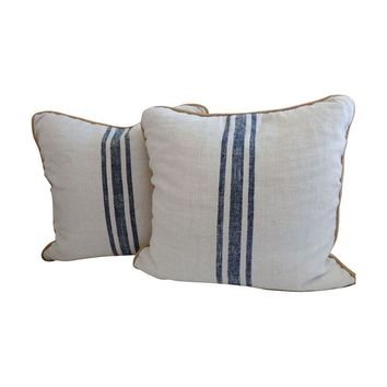 Pre-owned Vintage Blue Stripe Grain Sack Pillows - A Pair