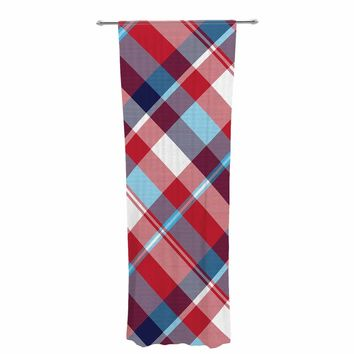 "Kess Original ""Red Blue White Plaid"" Blue Red Pattern Digital Decorative Sheer Curtain"