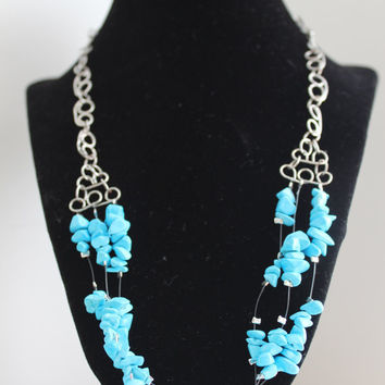 Turquoise Blue Stone Necklace by p4pministry on Etsy