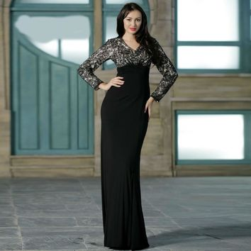 Formal Black Mother of the Bride Dresses with Long Sleeves Elegant V-neck Lace Evening Party Gowns