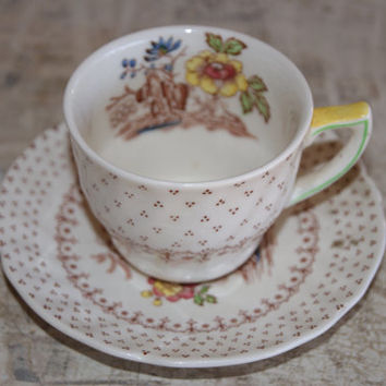 Vintage Royal Doulton China GRANTHAM Pattern Demitasse Espresso Tea Or Childs Transferware Cup And Saucer Barista