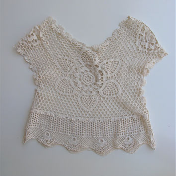 BoHo Chic Sheer Crochet Crop Top S/M