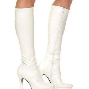 White Knee High Adult Boots - Costume Accessory
