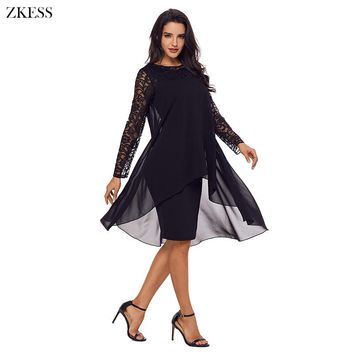 ZKESS Women Elegant Sheer Lace Patchwork Midi Dress Double Layer Hem Long Sleeve O Neck Party Club Pleated Dress LC61864