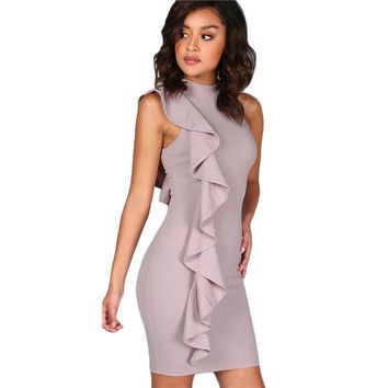 Lavender One Sided Exaggerated Frill Bodycon High Neck Elegant Dress