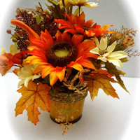Fall Floral Arrangement in Fall Themed Metal Container, Thanksgiving Centerpiece, Fall Decor