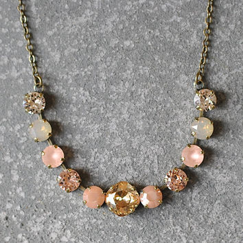 Beige Neutral Necklace Swarovski Crystal Ombre Champagne Peach Frosted Beige Opal Rhinestone Bar Necklace Mashugana