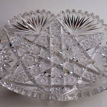 American Brilliant Period hand Cut Glass tray flashy ABP