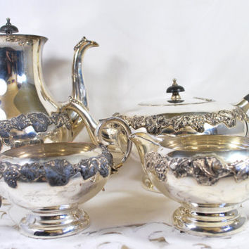 Vintage Coffee Pot Tea Pot Silver Plated Ebony Handles With Cream and Sugar Jug , Antique Silver Serving Set