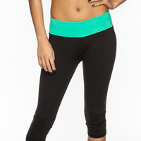 Full Tilt Sport Womens Capri Leggings Black-Mint  In Sizes