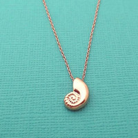 Rose gold, pink gold, ariel, mermaid, necklace