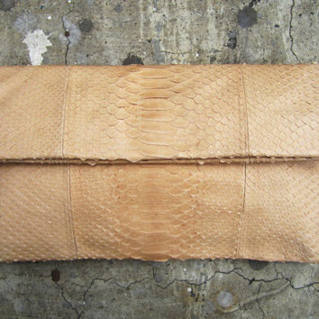 Cream Nude Pastel Fold Over Python Snakeskin Leather by linmade