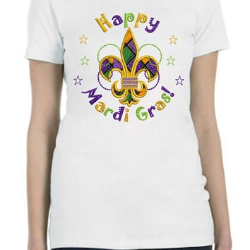 MARDI GRAS Custom Printed Shirt in Ladies and Mens Sizes, One of a Kind Handmade Design...FREE Shipping!!!!