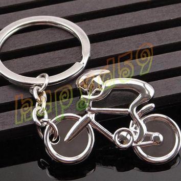 1pcs creative metal Sporty man Road bicycle figure keychain keyring souvenirs bike Cycling lover biker AD party gift keychain